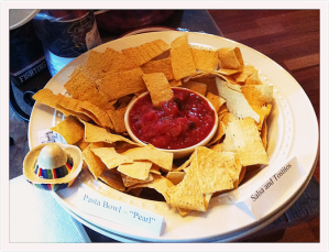 We used the sombrero mini with our chips and salsa bowl!